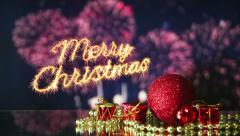 Merry christmas celebration with fireworks last 10s loopable Stock Footage