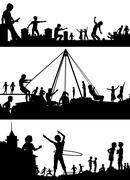 Playground foreground silhouettes Stock Illustration