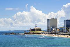 View of Farol da Barra and Barra Beach in Salvador, Bahia, Brazil Stock Photos