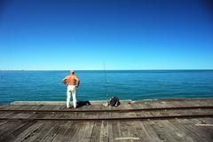 Fisherman in carnavorn, western australia Stock Photos