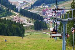 chair lift on Carpathian Mountains - stock photo