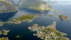 Reine, Norway. Fishing village in Moskenesoya island. Stock Footage