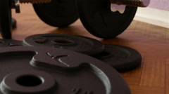 Dumbbells in Gym - Muscle Training Stock Footage