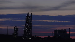 Cement Factory At Night During Sunset Stock Footage