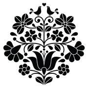 Kalocsai black embroidery - Hungarian floral folk pattern with birds - stock illustration