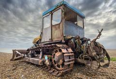 Beach bulldozer Stock Photos