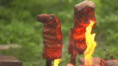 Cooking pieces of fish on an open fire Stock Footage