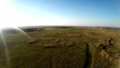 AERIAL:flying over the river (video filmed with quadrocopter drone) Stock Footage