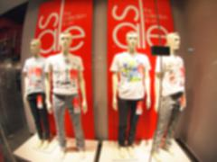 Defocused and blurry four male mannequin - stock photo