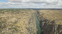 Aerial view approaching to cliff in Duero River, Spain Stock Footage