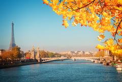 Alexandre III Bridge and Eiffel tower, Paris Stock Photos