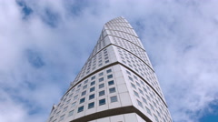 Stock Video Footage of Turning torso tower top, modern spiral architecture Malmo Sweden timelapse 4k
