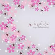 Floral heart background - stock photo