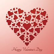 Valentine's day heart on paper card - stock photo