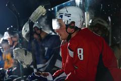 ice hockey player portrait - stock photo