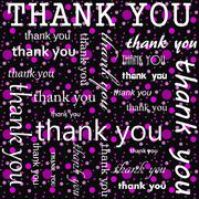 Thank You Design with Pink and Black Polka Dot Tile Pattern Repeat Background - stock illustration