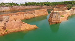 Low Altitude Flying Through Above Canyon Walls Over Water Stock Footage