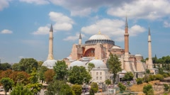 clouds moving fast over hagia sophia mosque time lapse - stock footage