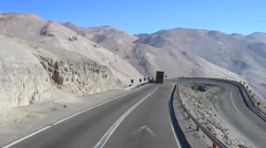 Travelling Dangerous Highway Andes Chile Stock Footage