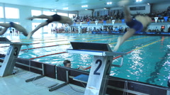 Competition Race track in Swimming Pool 03 Stock Footage