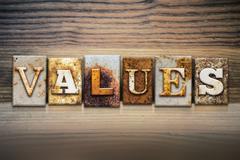 Values Concept Letterpress Theme - stock photo