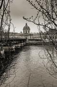Black and white Passerelle des arts in Paris Stock Photos
