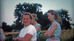 1953: Rural housewives dressed for fashion enjoy a sunday together. Stock Footage
