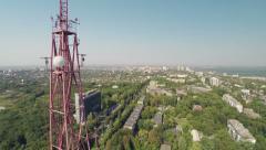 Stock Video Footage of Radio Antenna Drone Survey