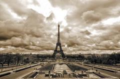 Sepia  Eiffel tower from Trocadero - stock photo