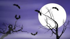 Bats Fly in a Full Moon Foggy Spooky Halloween Night - stock footage