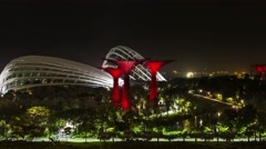 Futuristic gardens by the bay at singapore pan time lapse Stock Footage