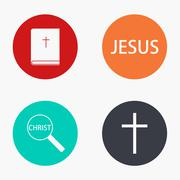 Vector modern religion colorful icons set Stock Illustration