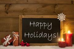 Festive Christmas Card, Blackboard, Snow, Candle, Happy Holidays - stock photo