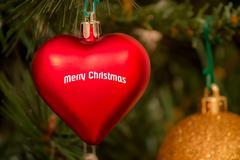 christmas red ball heart-shaped - stock photo