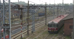 Two Red Electric Trains Freight Train With Blue Wagons Railroad Contact Network Stock Footage