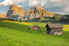 Langkofel Group at Seiser Alm, South Tyrol, Italy Stock Photos