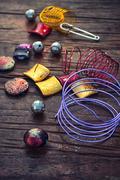 Stylish beads for needlework - stock photo