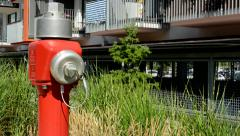 View of the luxury prefab houses with balconies camera focus water hydrant Stock Footage