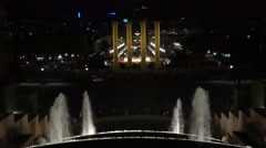4K Famous Magic Fountain water show Spanish Square night Barcelona landmark icon Stock Footage