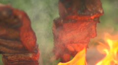Cooking pieces of fish on an open fire close up Stock Footage