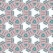 Romantic pink symmetrical pattern - stock illustration