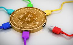 Color USB Wires Connected To The Bitcoin Stock Illustration