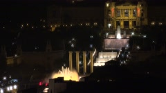 4K Famous Magic Fountain show panorama night Barcelona tourism attraction emblem Stock Footage