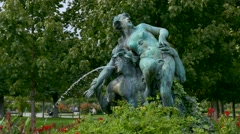 Fountain in the Volksgarten Park, Austria, Europe Stock Footage