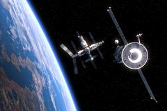 The Spacecraft Flies To Space Station Stock Illustration
