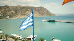 Greek Flag Waving in the Wind Stock Footage