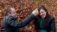Happy couple in the autumn Stock Footage