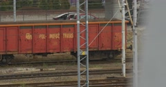 Goods Train Arrives Last Wagon Train Leaves Parking on Background Parked Cars Stock Footage