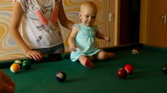 Teach me to play billiards - stock footage
