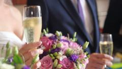 Wedding glasses in their hands Stock Footage